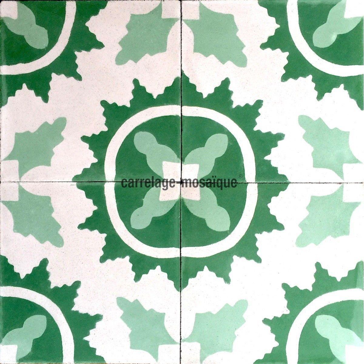 Carreaux De Ciment Mur Et Sol 1m2 Modele Ferret Vert Carrelage