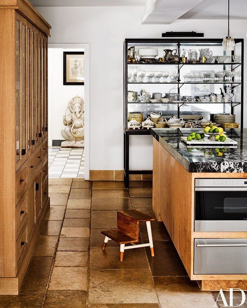 E Stanley B Romanek On Instagram Good Morning Los Angeles This Burl Wood Island Has Th Eclectic Kitchen Modern Kitchen Design Warm Modern Kitchen Design
