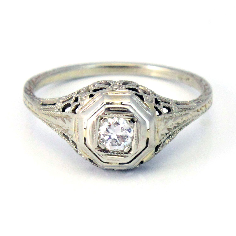 18k Antique Art Deco 1920s Diamond Filigree Engagement
