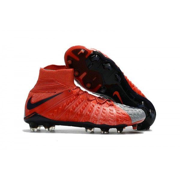 New 2017 Nike Hypervenom Phantom 3 DF FG ACC Soccer Cleats Red Grey