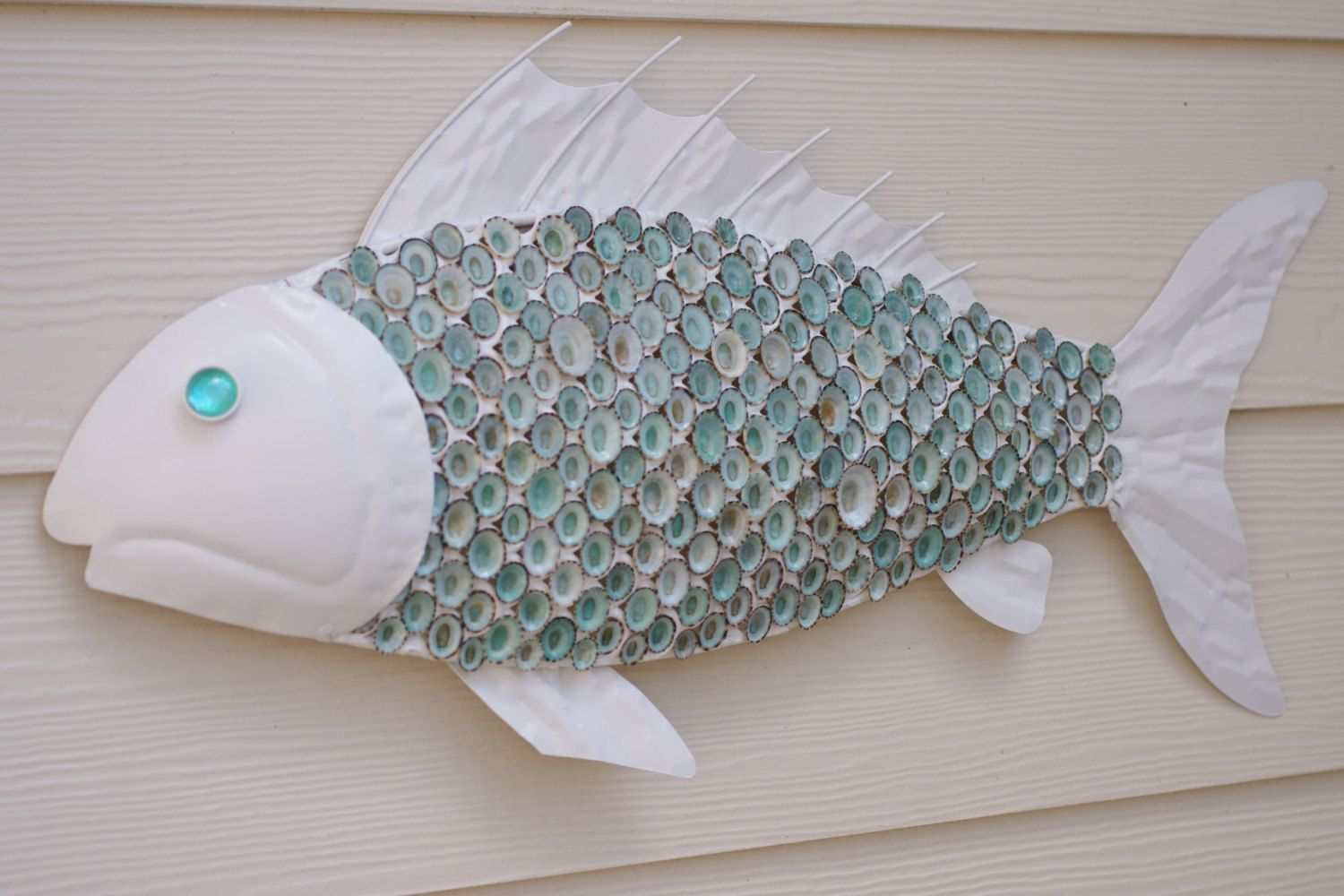 Nautical Wall Decor Metal Fish With Aqua Limpet Shell Scales White And 165 00 Via Etsy