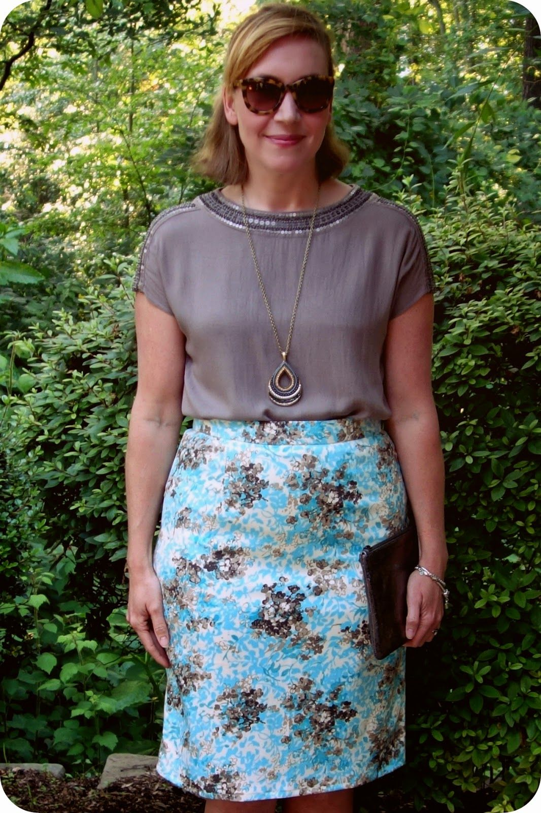 6f2f50e1368 My Superfluities Vogue 8916 Pencil Skirt made from floral cotton silk  twill. Also lined in a stretch nylon tricot.
