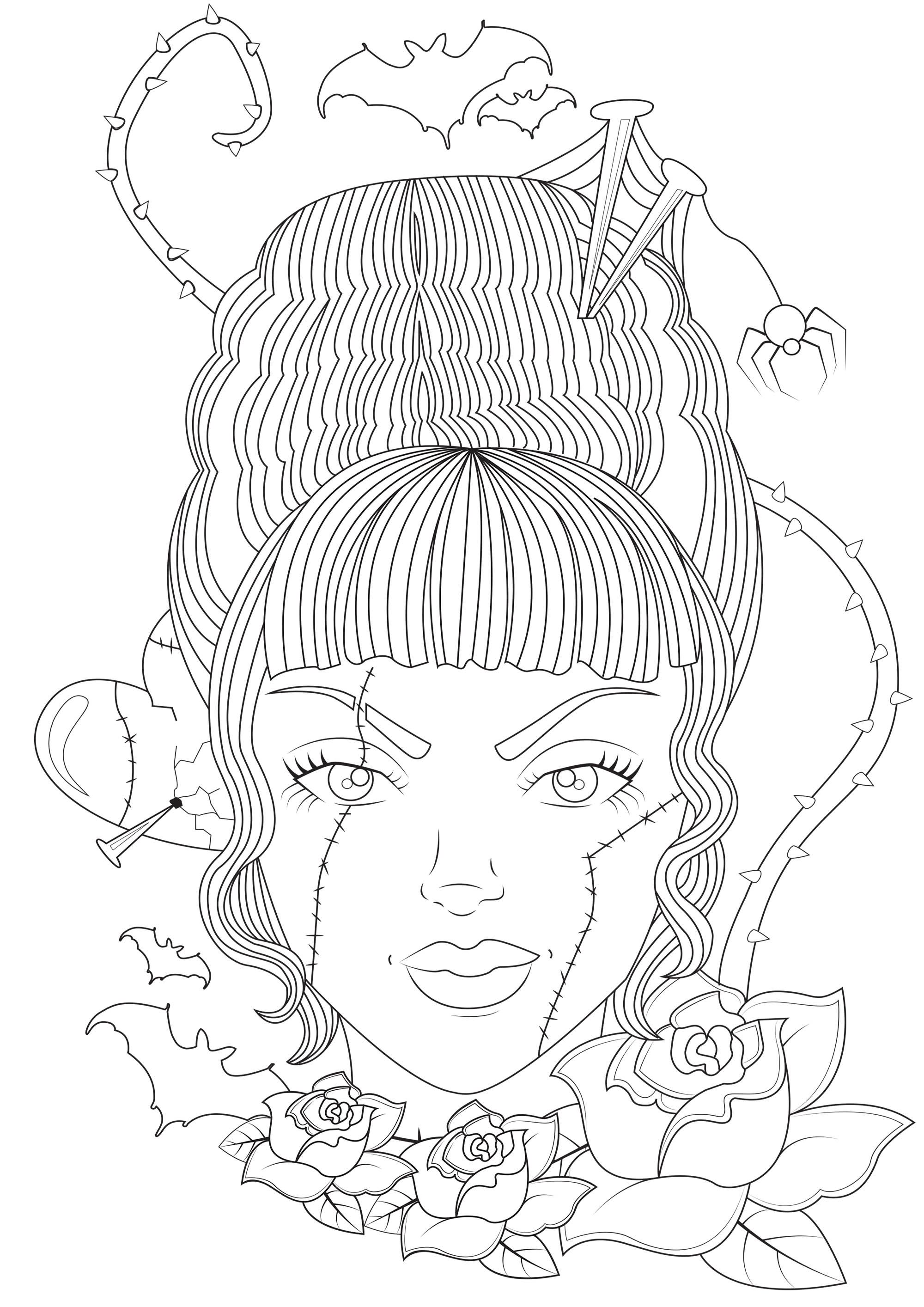 Coloring Page Inspired By Bride Of Frankenstein 1935 American Science Fiction Horror Film Halloween Coloring Pages Cute Coloring Pages Tumblr Coloring Pages