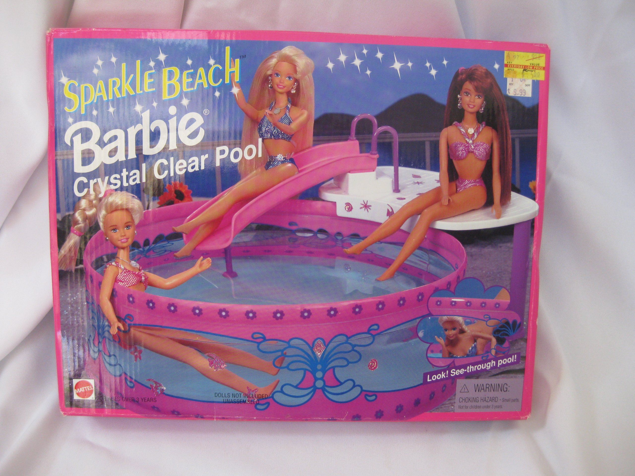 Amazon Com Sparkle Beach Barbie Crystal Clear Pool Toys
