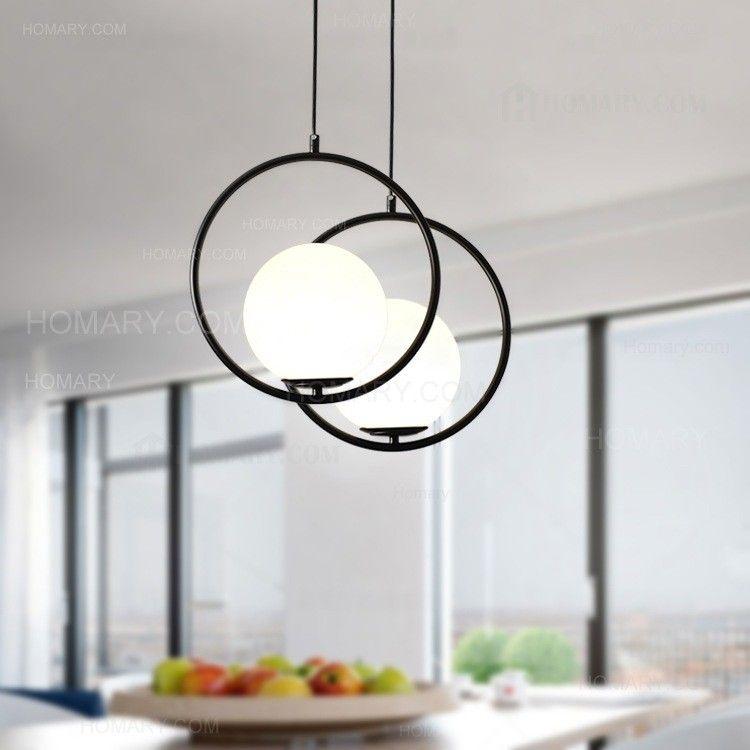 Contemporary Minimalist Metal Ring Globe Glass Shade Single Light