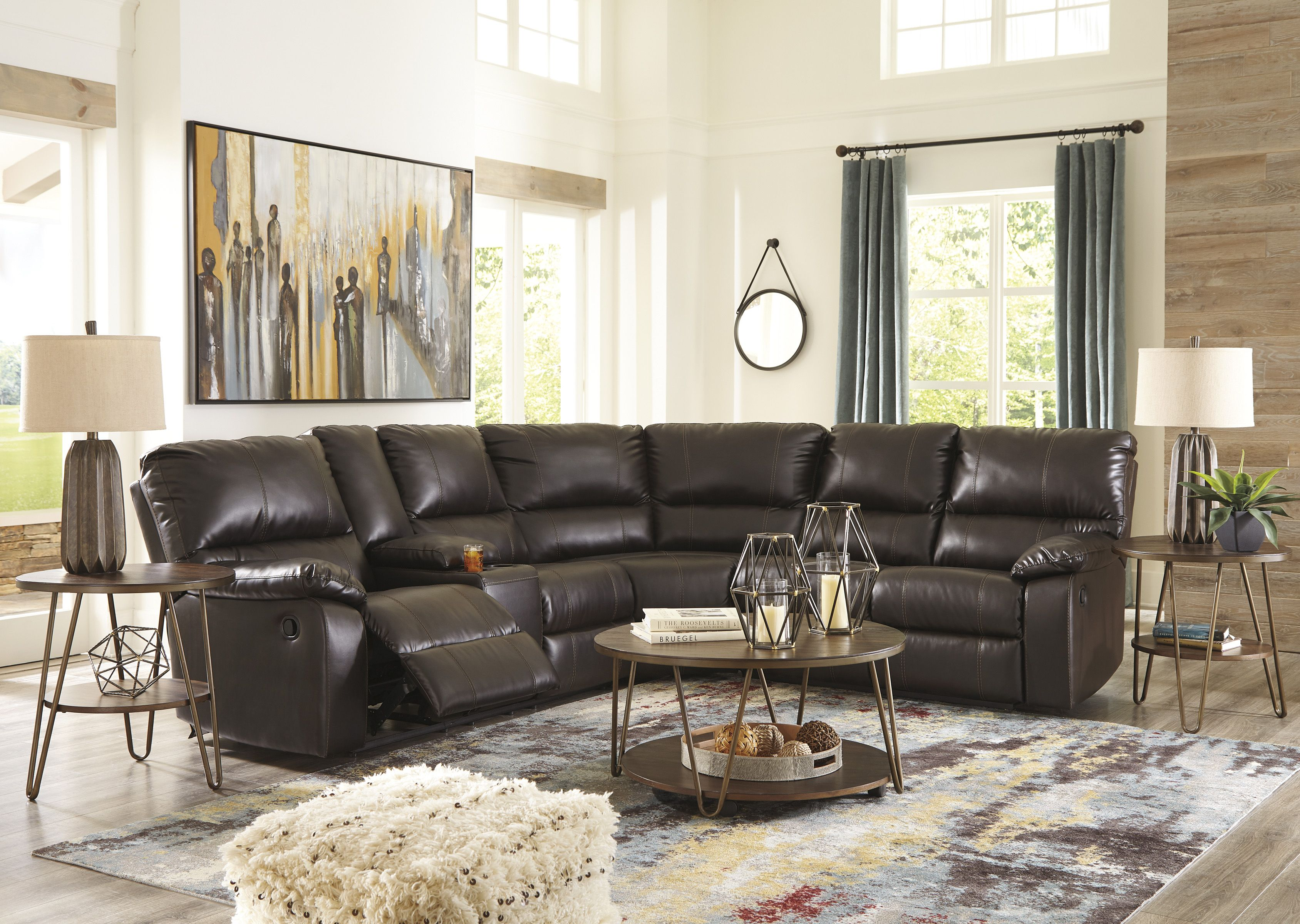 Sectional with dual recliners 1299 item 3400176 casa bella furniture 153 w 29 st hialeah fl