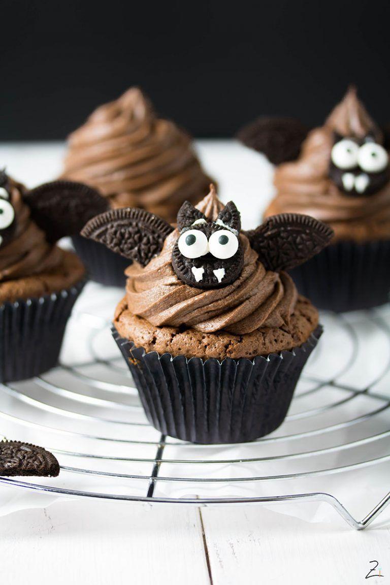 Vampi Cupcakes mit Schokoladenganache für Halloween |