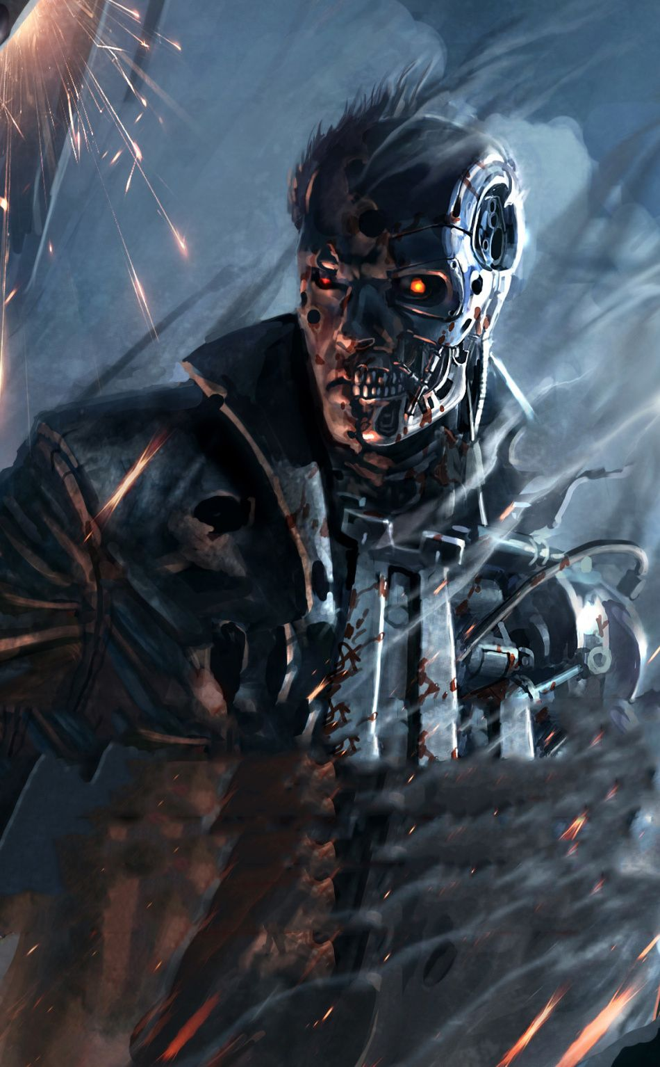 Download 950x1534 wallpaper Terminator Resistance, action