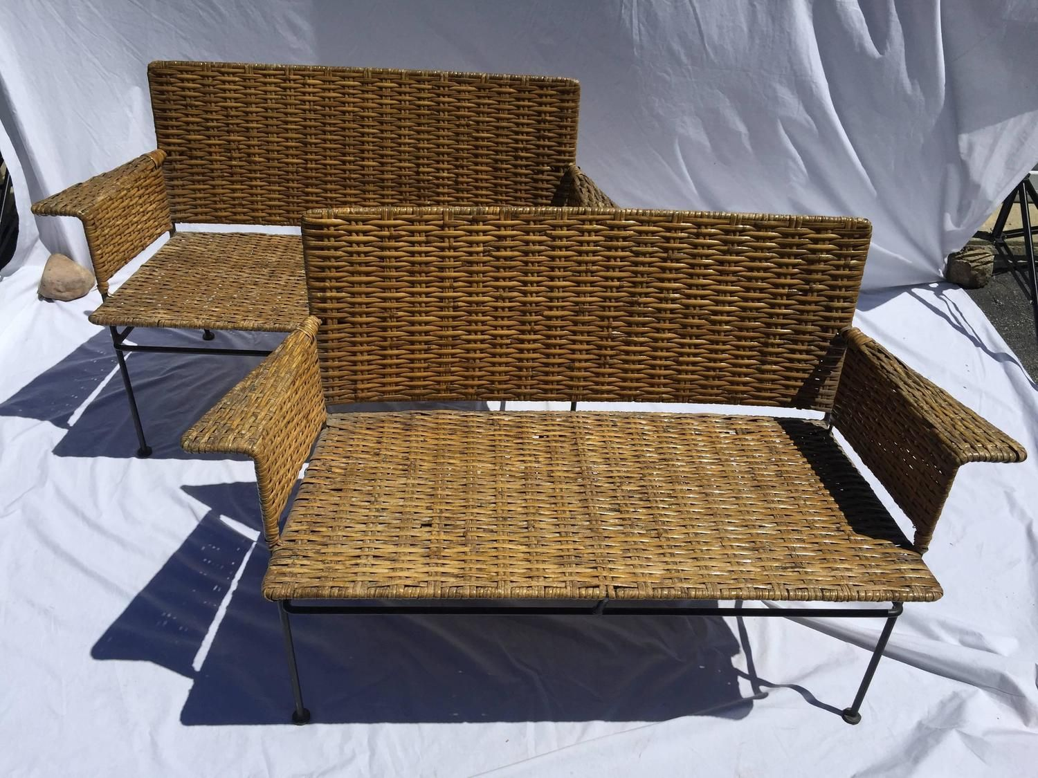 Brilliant Pair Of Mid Century Van Keppel And Green Wicker And Iron Ncnpc Chair Design For Home Ncnpcorg
