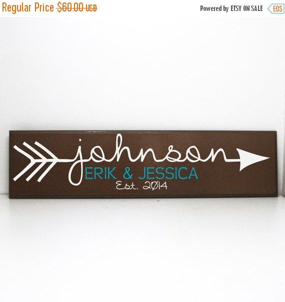 ON SALE Arrow Custom Last Name Wood Sign Personalized by LEVinyl ...