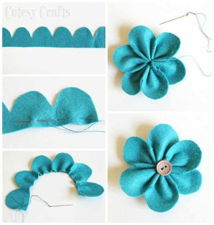 Muster von Filzblumen, die in einfachen Schritten hergestellt werden #flowerfabric