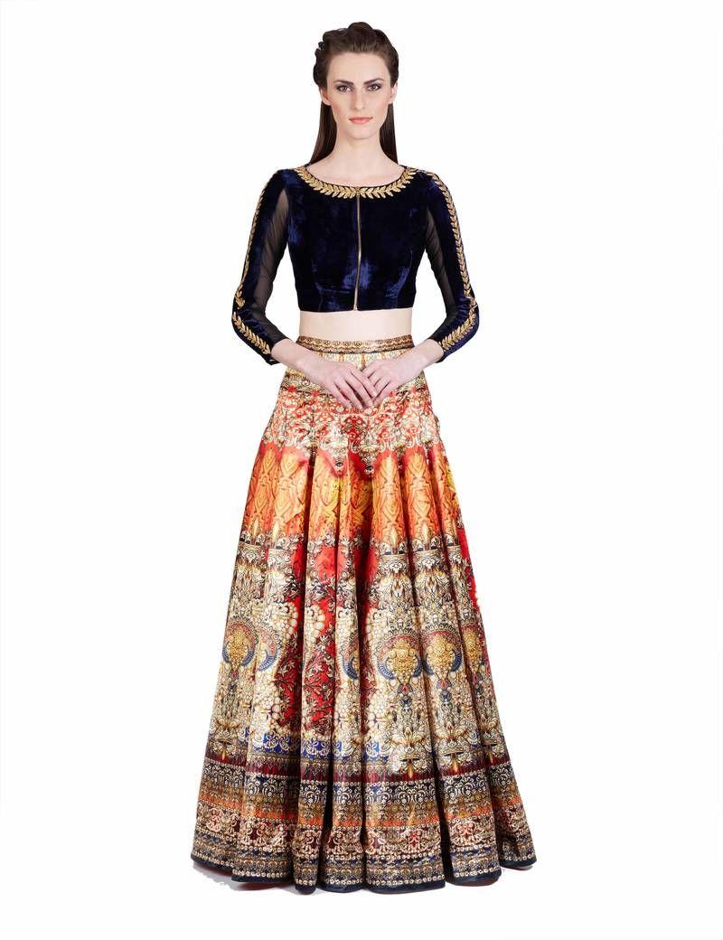 c9d83439635 Multicolor self design art silk semi stitched lehenga in 2019 ...