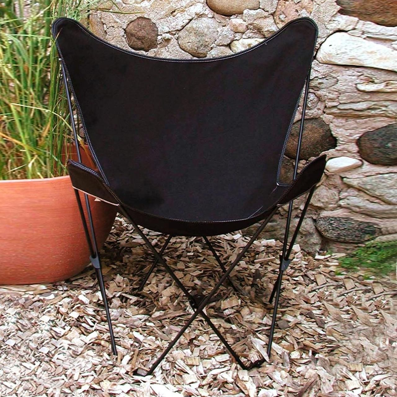 "35"" Retro Style Outdoor Patio Butterfly Chair with Black"
