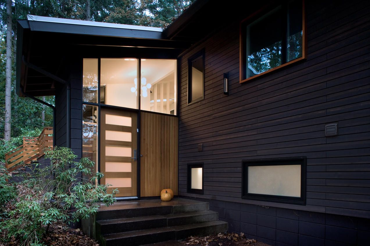 Modern Wood Siding Exterior Midcentury With Clean Deck Entrance