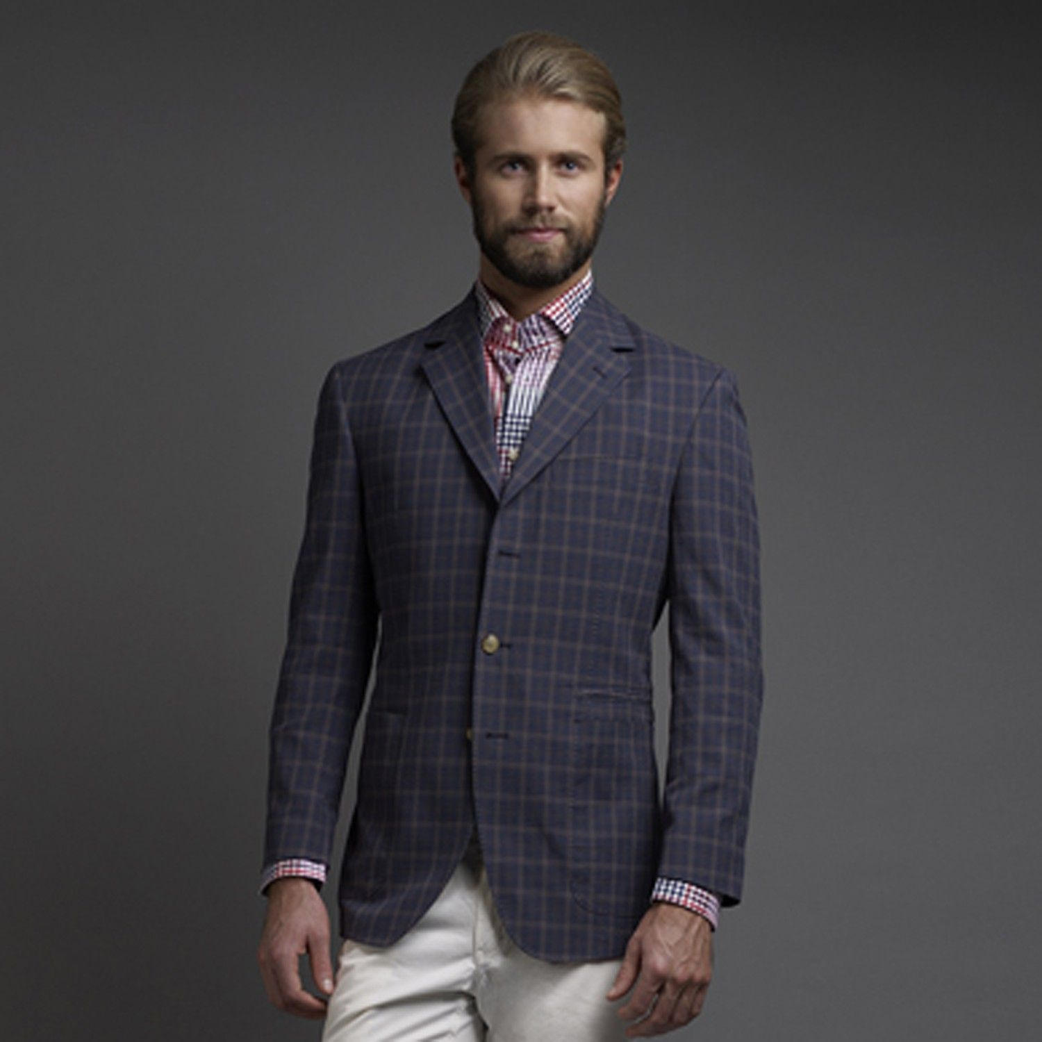 Thomas Dean Co. | Navy Seersucker Plaid 3 Button Blazer $295 ...