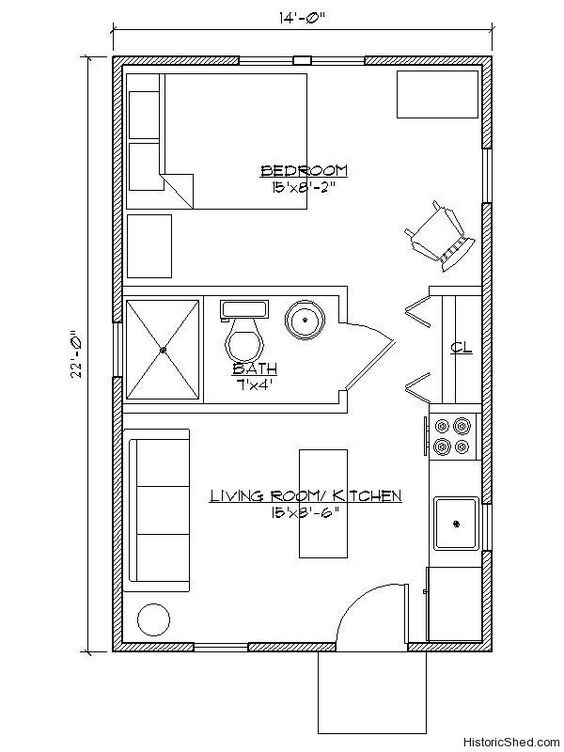 Floor Plan 14 X 22 One Bedroom Google Search One Bedroom House Guest House Plans Small House Blueprints