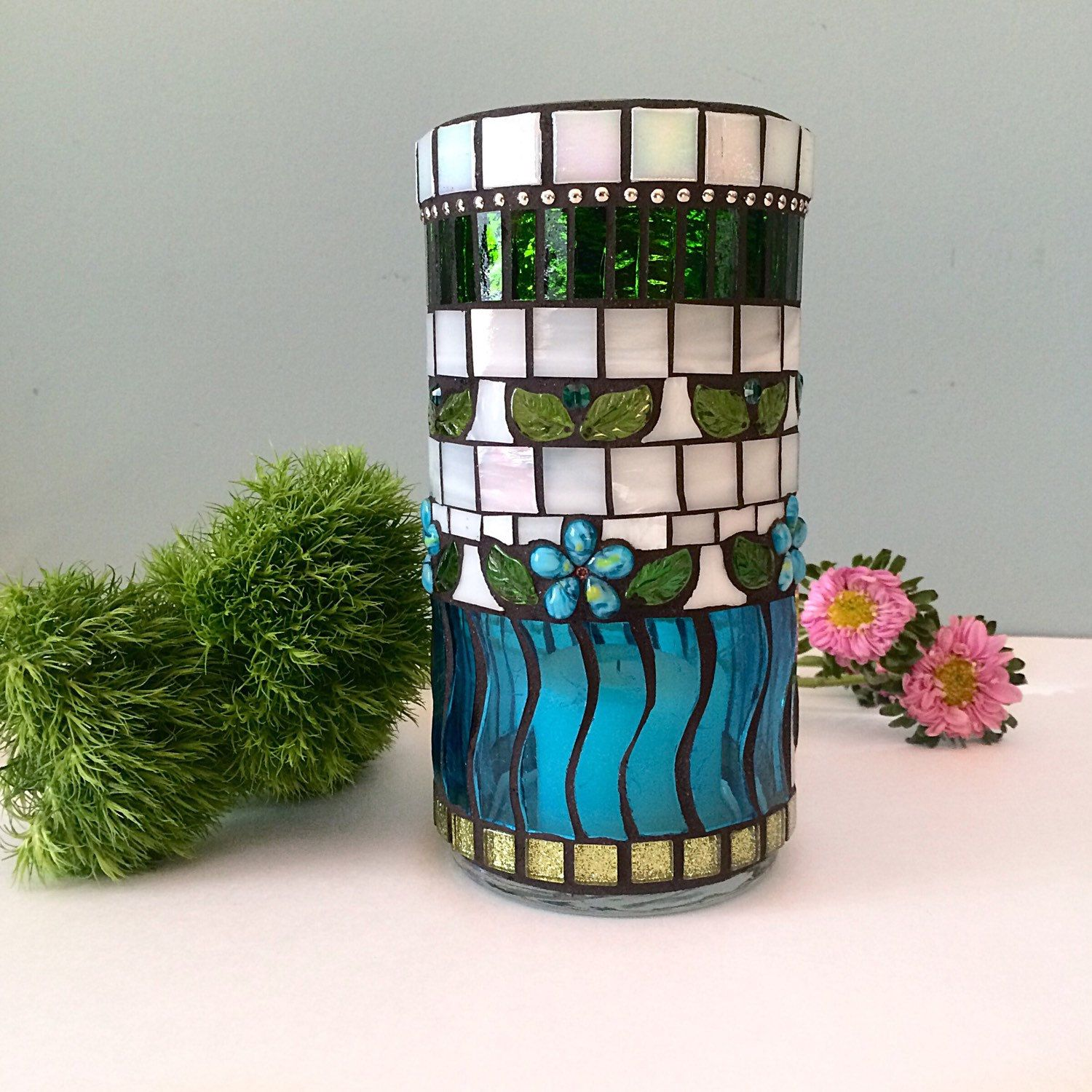 Mosaic vase Blue flower candle holder votive Island vacation beach house art Spring holiday celebration Easter decoration Mother's Day gifts by BellasArtMosaics on Etsy