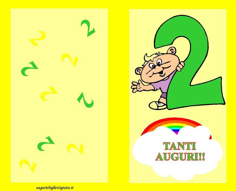 Biglietto Di Auguri Di Buon Compleanno Colorato Di Giallo Con Un Grande 2 Verde E Bambino Sorrident Buon Compleanno Auguri Di Buon Compleanno Bambino Di 2 Anni