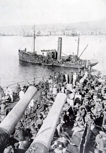 British soldiers evacuated from Gallipoli in 1915 are transferred to Salonika in Greece.