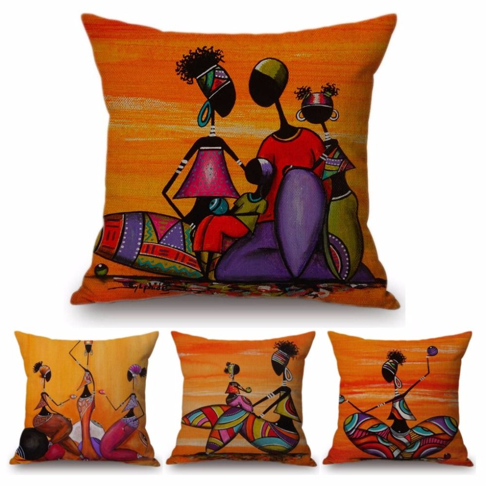 Orange Abstract Painting Africa Life Collection African Woman Home