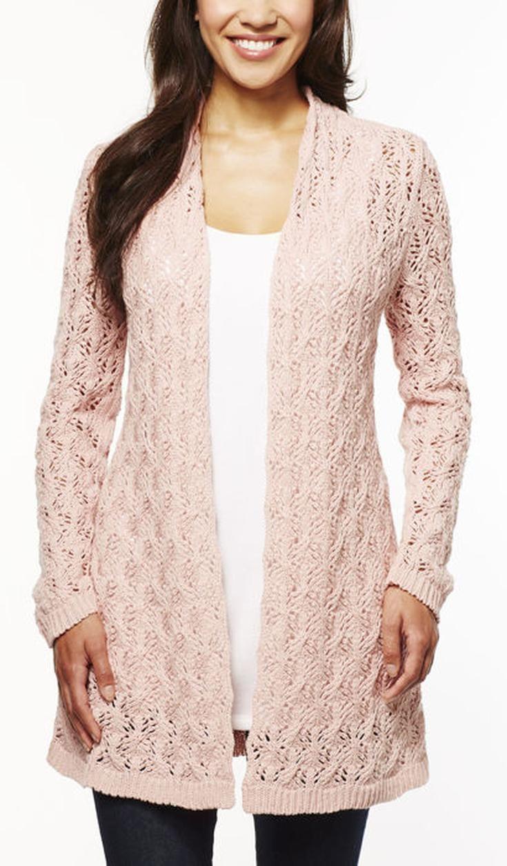 Leo Nicole Ladies Pointelle Cardigan Velvet Blush Sweaters