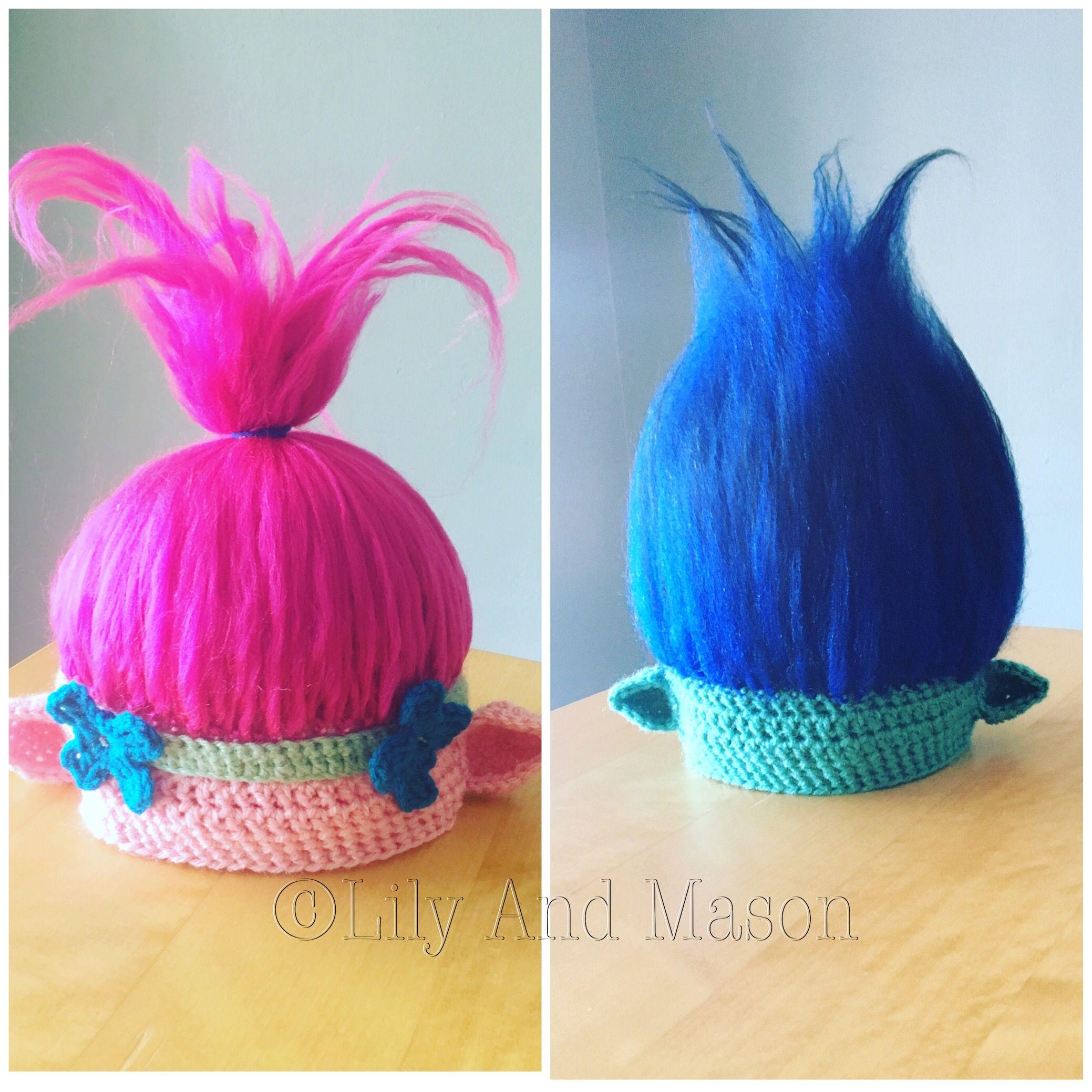 Crochet troll hat, trolls wig, trolls movie, crochet troll hat ...