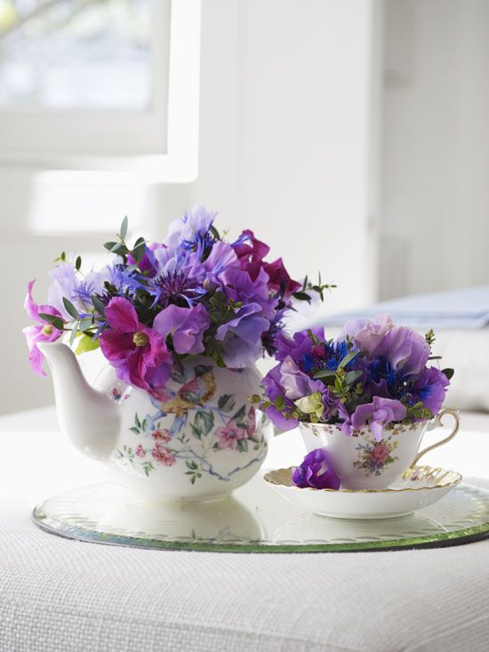 Vintage Tea Set Flower Arrangement Healthy Home Mother Earth Living Teacup Flowers Tea Sets Vintage Flower Arrangements
