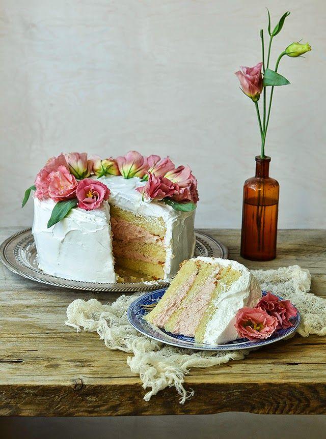 Vanilla Layer Cake with Strawberry Buttercream and Italian Meringue Icing (recipe) | Heart of Gold