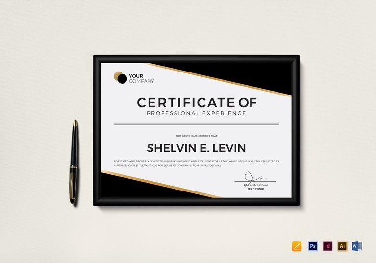 Professional Experience Certificate Template | Certificate ...