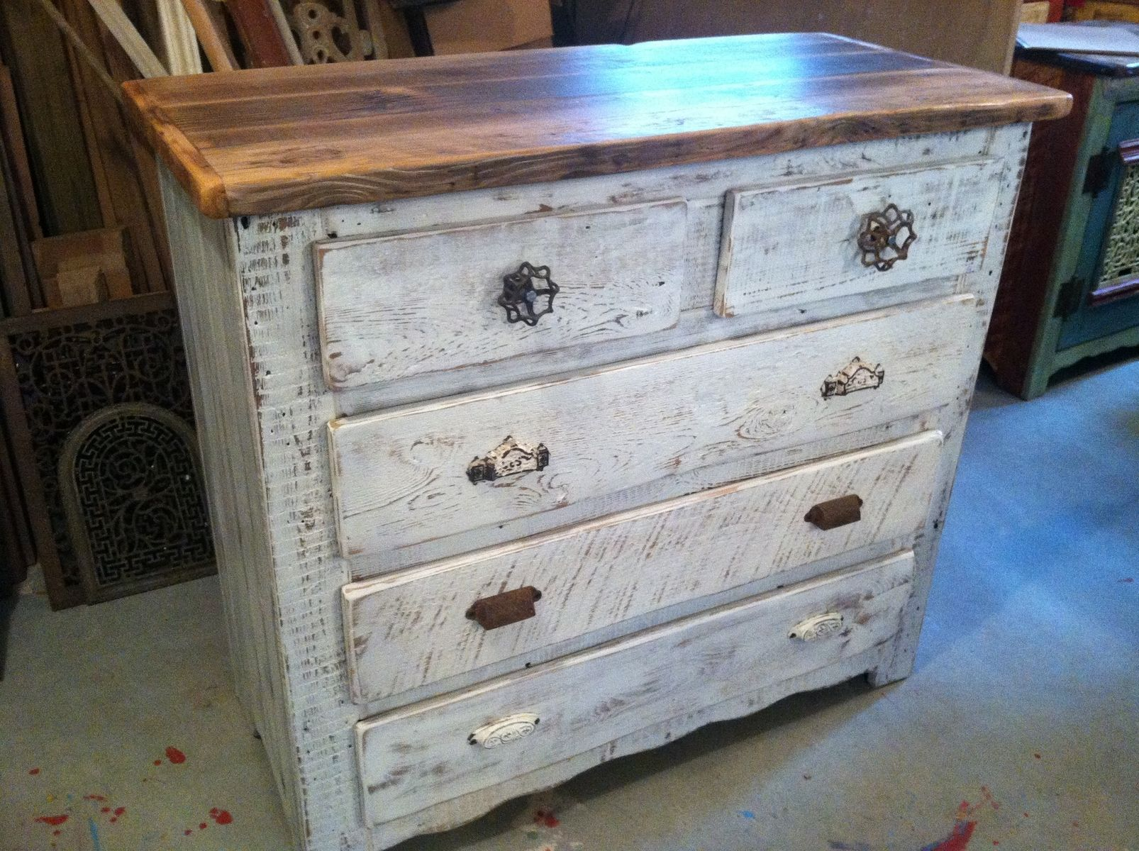 Captain s Dresser In Antique Whitewash