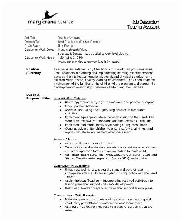 23 Teacher Assistant Job Description Resume In 2020