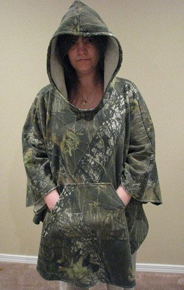 Hooded Poncho Camouflage Sweatshirt Fleece Mossy by adfabinidaho