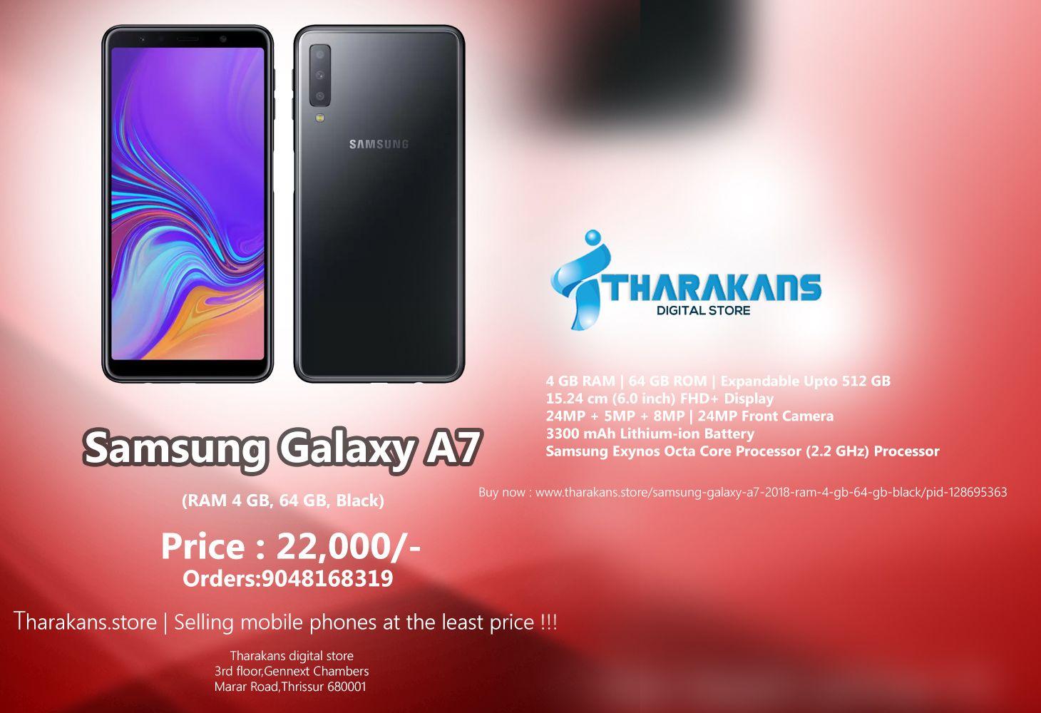 Samsung Galaxy A7 -->>Price:22,000/- (RAM 4 GB, 64 GB, Black