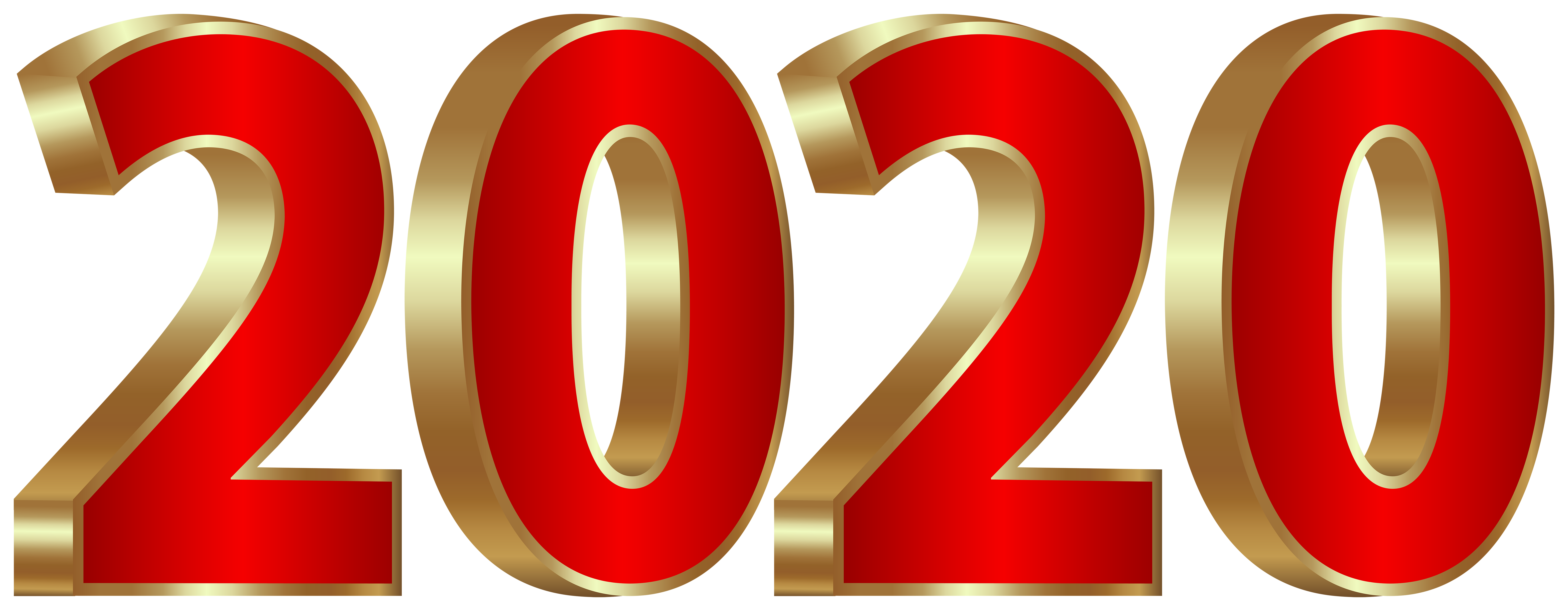 2020 Gold and Red PNG Clipart Image Happy new year png