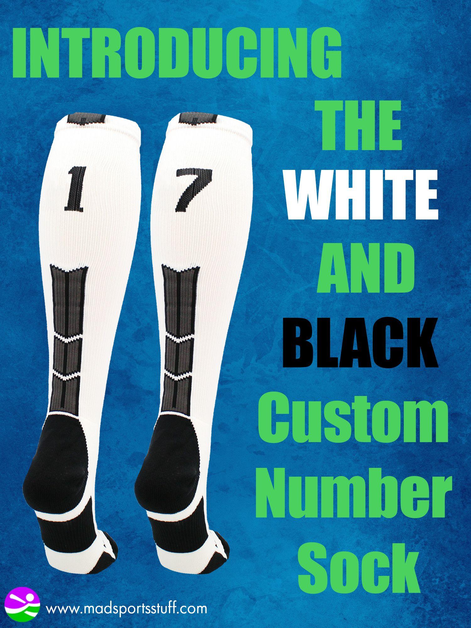 Player Id Jersey Number Socks Over The Calf Length White And Black In 2020 Socks Custom Sports Socks Softball Socks