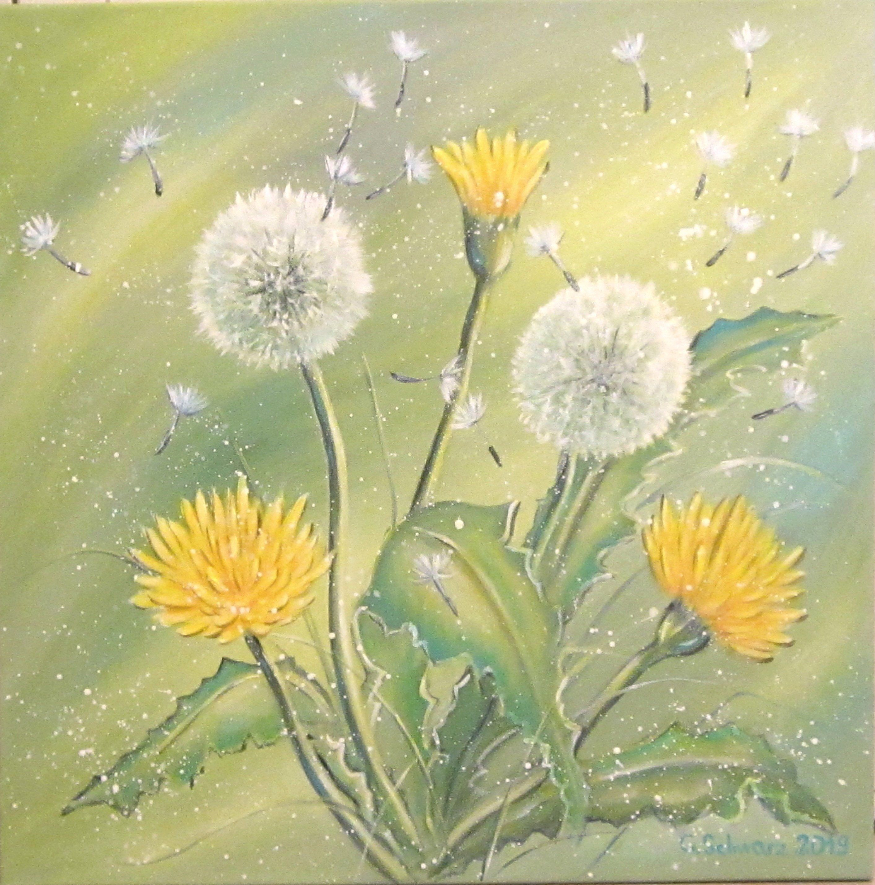 Dandelion - acrylic painting with dandelions and a dandelion