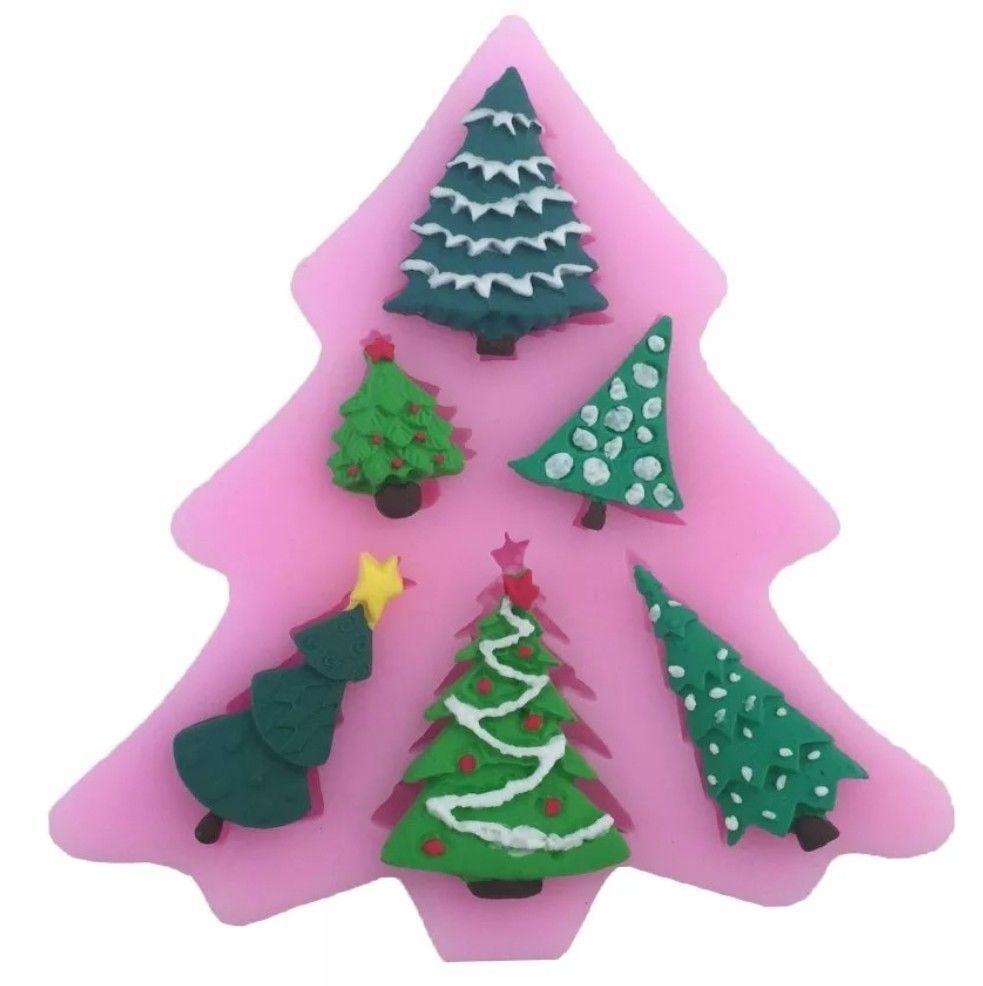 6 Christmas Trees Silicone Mould Mold Xmas Tree Icing Fondant Resin Cake Topper Christmas Tree Cake Fondant Molds Fondant