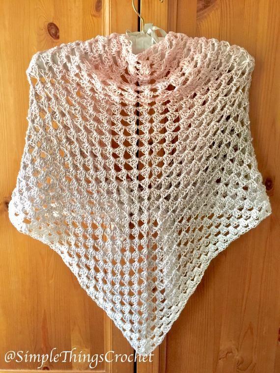 Crochet Triangle Shawl Pattern, Granny Triangle Shawl