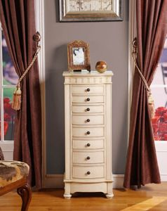 Muscat 8 Drawer Charging Jewelry Armoire in ANTIQUE BEIGE Finish
