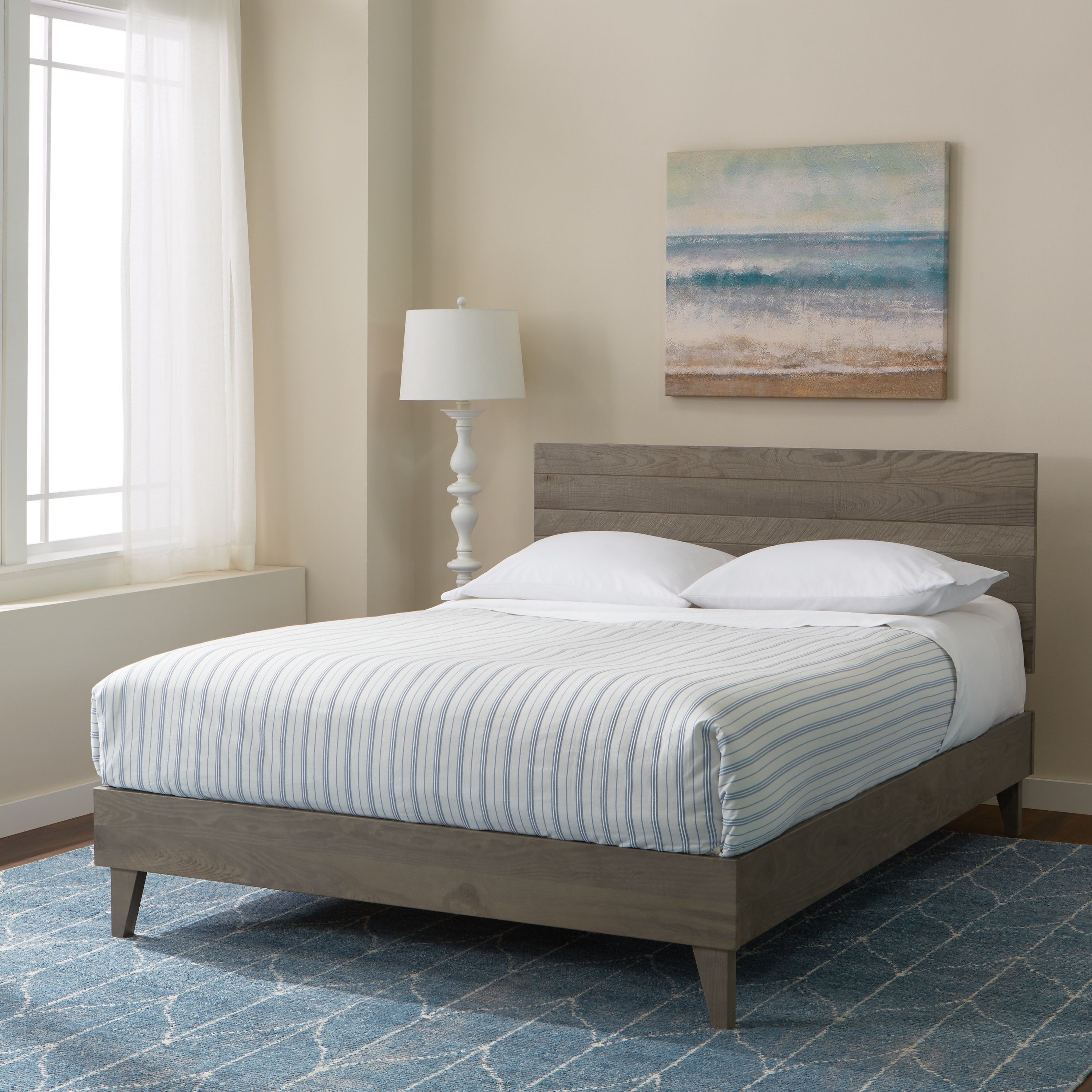 Kotter Home Barnwood Platform Bed Frame and Headboard