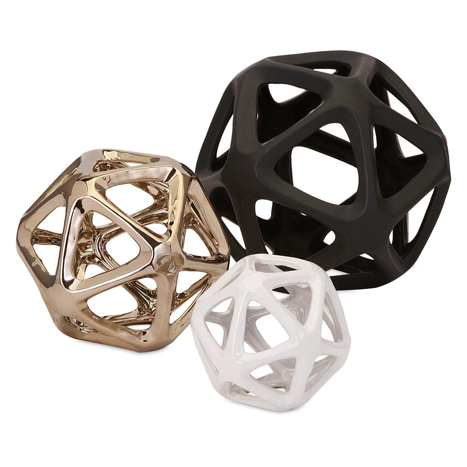 Black And White Decorative Ceramic Balls Nikki Chu Esceramic Decorative Ball  Set Of 3  Sculptures