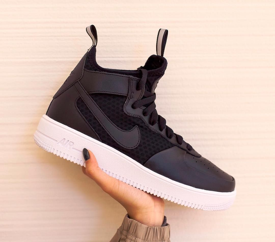 35b59a4e962 Incorporating 3m pull tabs and soft leather the Nike Air Force 1 UltraForce  Mid in Black is now available.