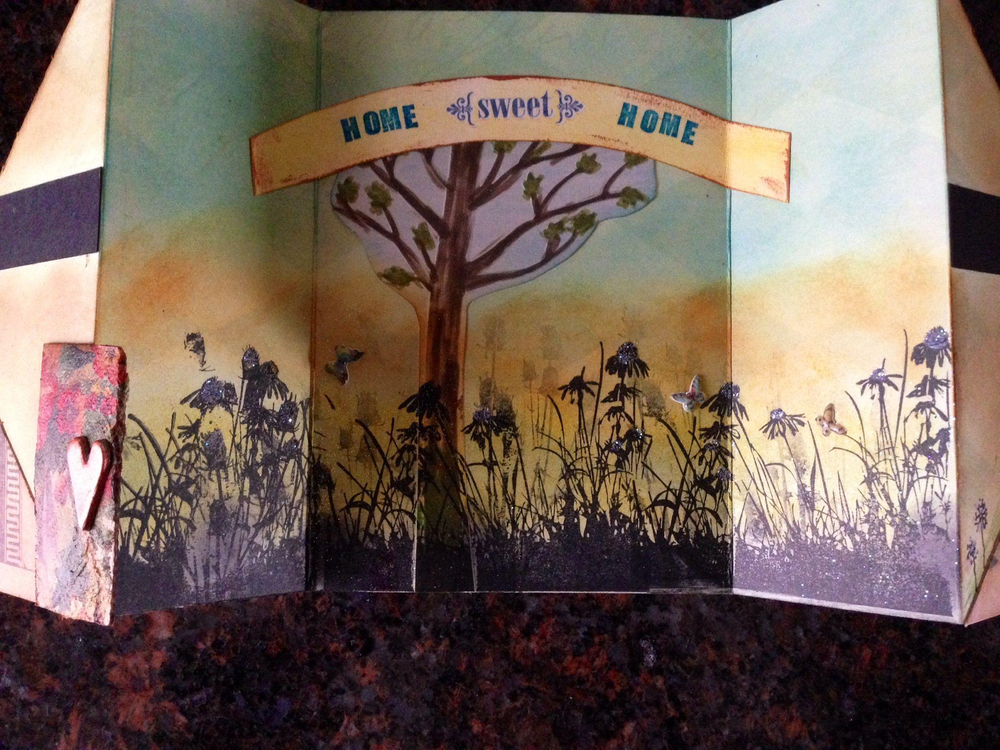 Handmade card/multi folded/new home card/distress/mixed media