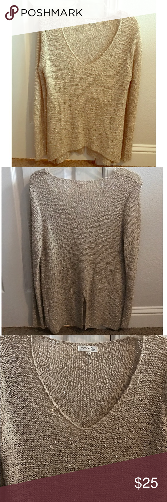 Gold Sequin Woven Knit V Neck High Low Sweater Gorgeous long ...