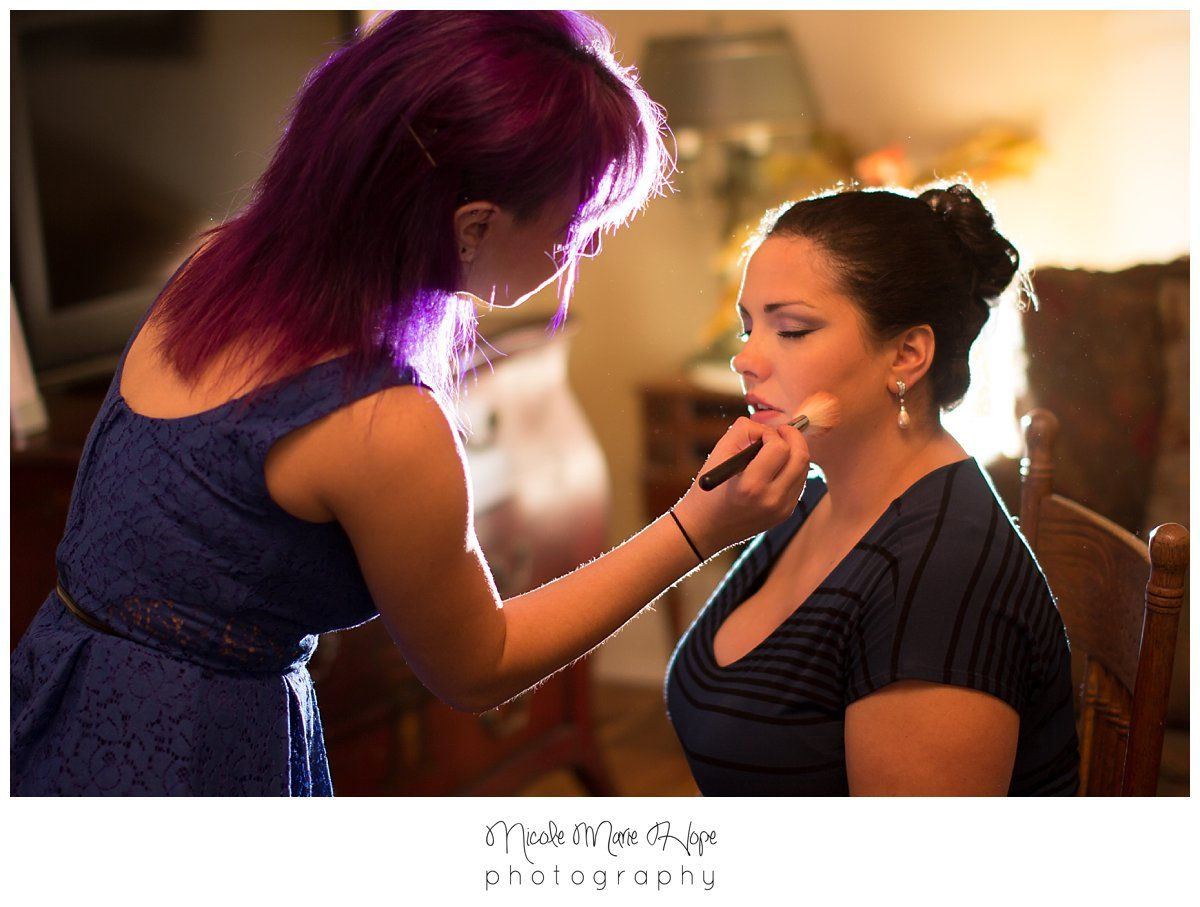 Cool lighting make up artist purple hair wedding historic potter