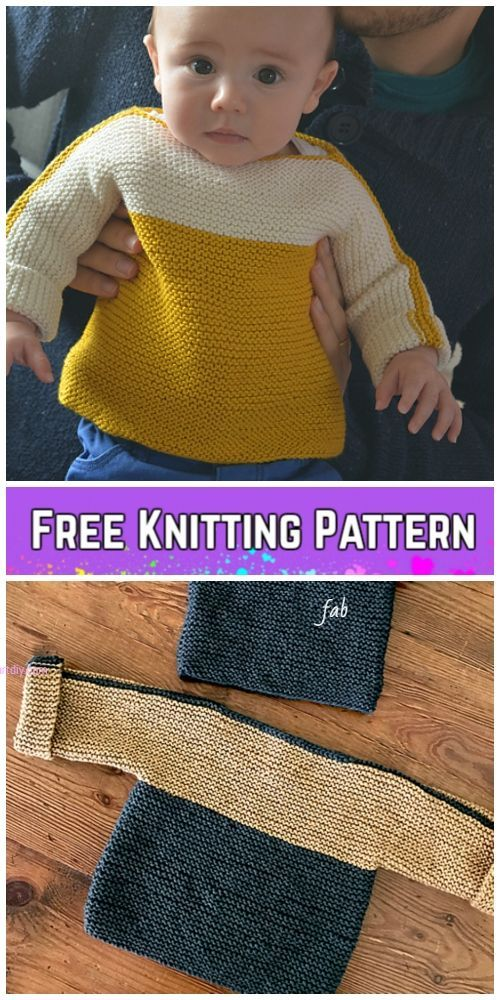 Easy Garter Stitch French Macaroon Baby Sweater Free Knitting Pattern #babypullover