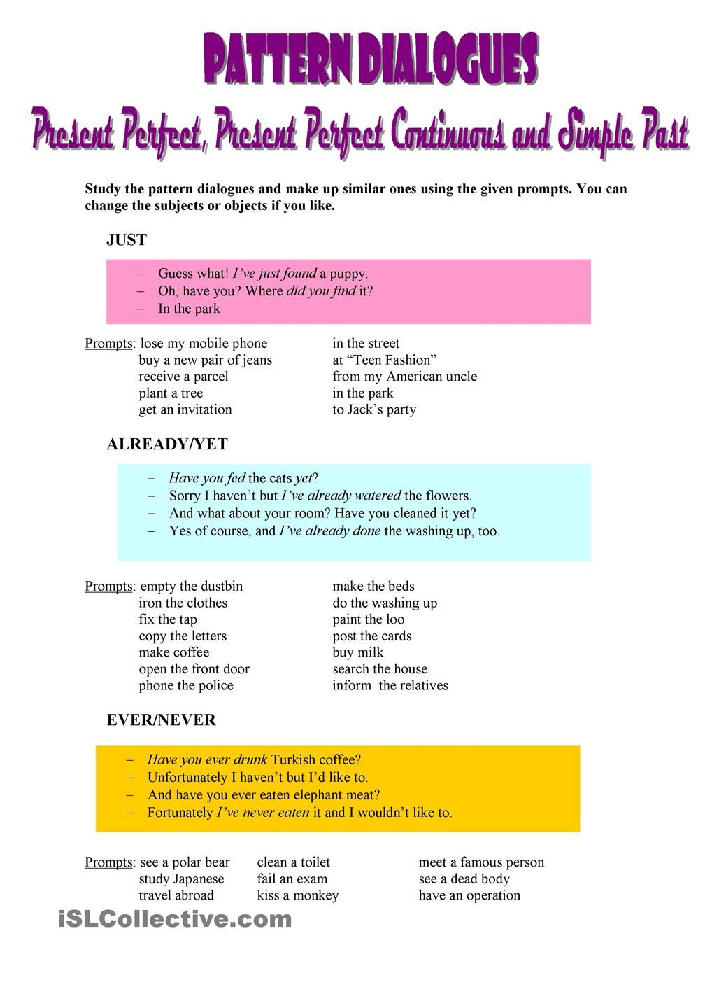 Pattern Dialogues Present Perfect Present Perfect Continuous And