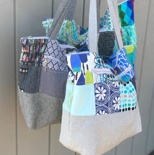 Santorini Tote sewing pattern - easy to sew zipper top tote