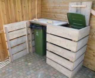 Pallet Trash Compartments  -  #palletprojects  ---  #pallets   ----   http://alittlebitofthisthatandeverything.blogspot.com/