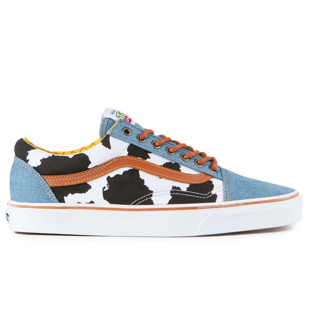 The Vans Toy Story Old Skool Men's Shoes in the Woody Colorway is Vans  classic skate shoe in Toy Story form. They're a low top lace-up with a  durable ...